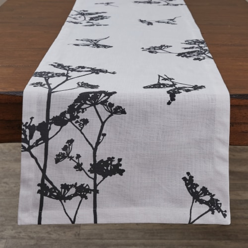 """Split P Queens Anne's Lace Printed Table Runner - 72""""L - White Perspective: front"""