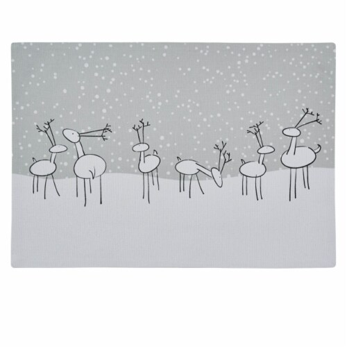 Split P Reindeer Games Placemat Set -White Perspective: front