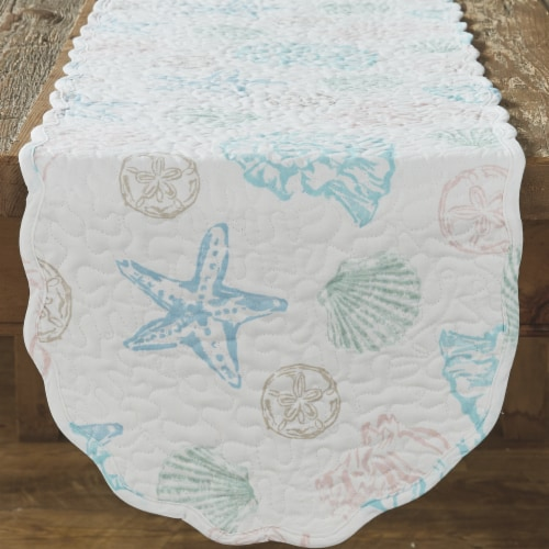 Split P Beachcomber Quilted Table Runner - 54''L - Off-White Perspective: front