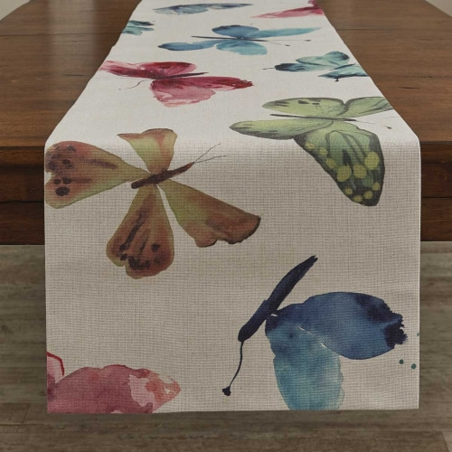 """Split P Butterfly Table Runner - 72""""L - Off-White Perspective: front"""