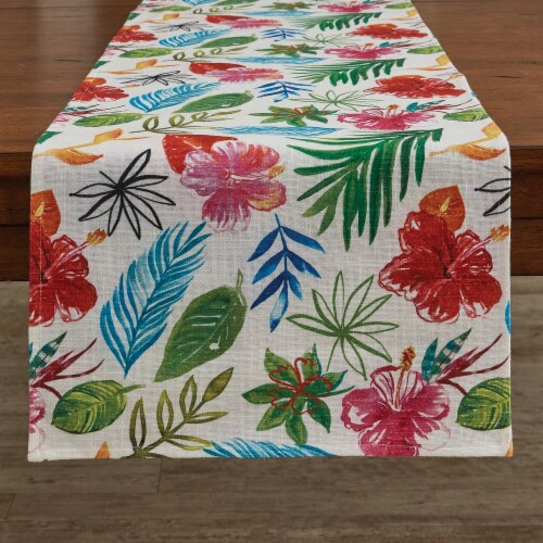Split P Tropical Paradise Table Runner  - 72''L - White Perspective: front