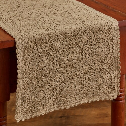 """Park Designs Lace Table Runner - 54""""L - Oatmeal Perspective: front"""