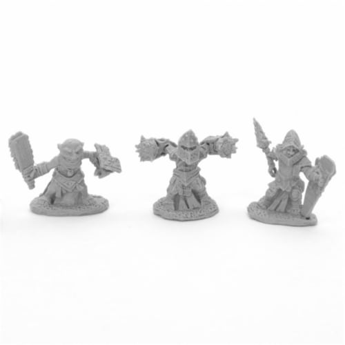 Reaper Miniatures REM44041 Bones Bloodstone Gnome Warriors Miniatures, Black - Pack of 3 Perspective: front