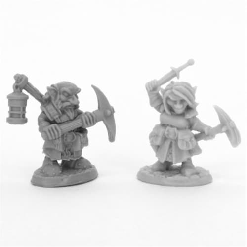 Reaper Miniatures REM44047 Bones Deep Gnome Heroes Miniatures, Black - Pack of 2 Perspective: front