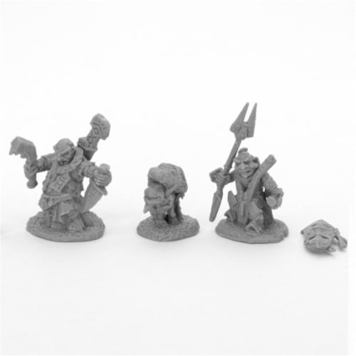 Reaper Miniatures REM44048 Bones Bloodstone Gnome Heroes Miniatures, Black - Pack of 2 Perspective: front