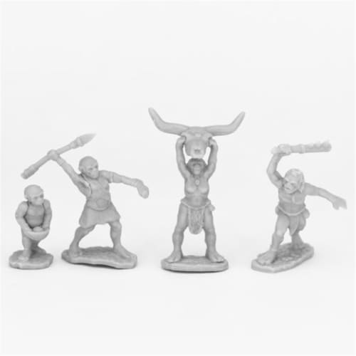 Reaper Miniatures REM44077 Bones People of the Dawnlands Miniatures, Black - 4 Piece Perspective: front
