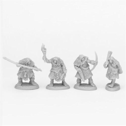 Reaper Miniatures REM44086 Bones & Bear Tribe Cavemen Miniatures, Black - 4 Piece Perspective: front