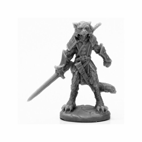Reaper Miniatures REM44117 Bones Black Catfolk Warrior Miniatures & Miniature Games Perspective: front