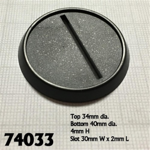 Reaper Miniatures REM74033 40mm Round Lipped Plastic Slotted Gaming Bases Perspective: front