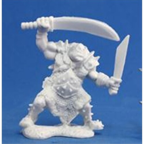 Reaper Miniatures 77051 Bones - Orc Stalker Two Weapons Perspective: front
