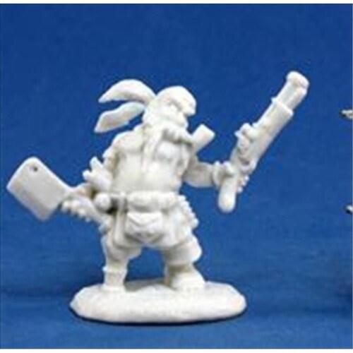 Reaper Miniatures 77133 Bones - Gruff Grimecleaver, Dwarf Pirate Perspective: front