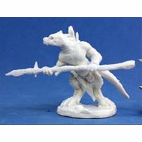 Reaper Miniatures 77154 Bones - Lizardman Spearman Perspective: front