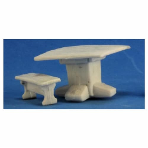 Reaper REM77319 Bones Table & Benches Miniature Figures Perspective: front