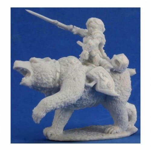 Reaper REM77353 Bones Ursula, Dwarven Bear Rider Miniature Figures Perspective: front
