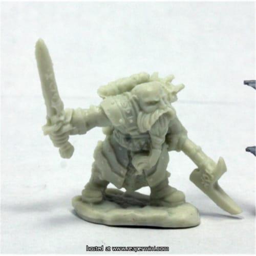Reaper Miniatures REM77400 25mm Scale Durgam Deepmug, Dwarf Hero for Werner Klocke Perspective: front