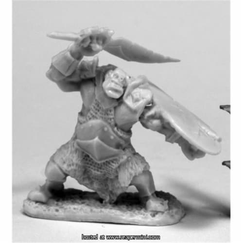 Reaper Miniatures REM77432 25mm Scale Orc Slicer, Scimitar & Shield Perspective: front