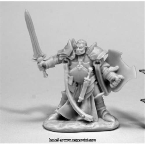 Reaper Miniatures REM77438 25mm Scale Jurden, Half Orc Paladin - Bobby Jackson Perspective: front