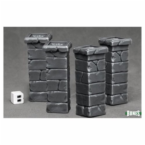 Reaper Miniatures REM77531 Bones Graveyard Fence Posts Miniatures - Pack of 4 Perspective: front