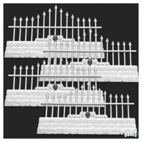 Reaper Miniatures REM77532 Bones - Graveyard Long Fences Miniatures - Set of 4 Perspective: front