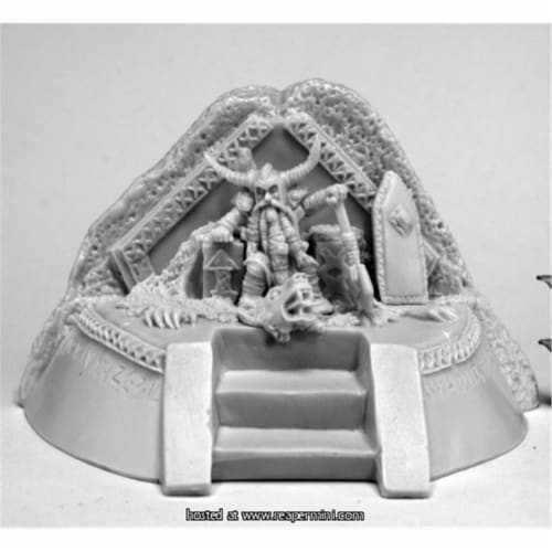 Reaper Miniatures REM77570 25mm Scale Dwarf King on Throne - Jason Wiebe Perspective: front