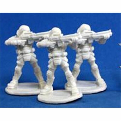 Reaper Miniatures 80011 Bones - Chrono Nova Corp Guard 3 Miniature Perspective: front
