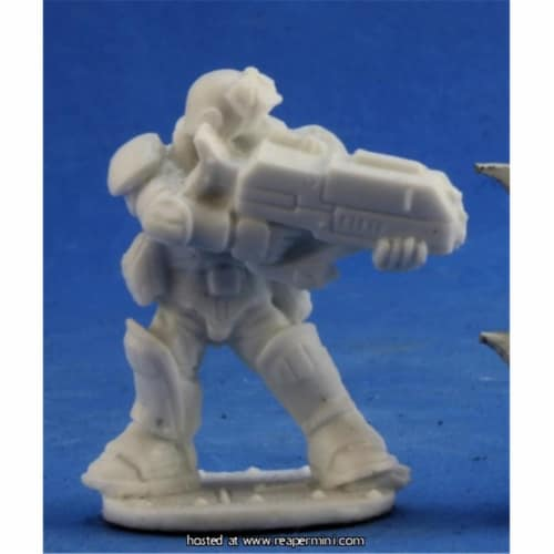Reaper Miniatures REM80050 25mm Scale Slyder IMEF Trooper, Bobby Jackson - Bones & Chronoscop Perspective: front