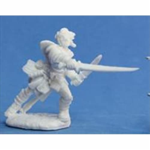 Reaper Miniatures 89007 Bones - Path Finder Valeros, Iconic Fighter Miniature Perspective: front