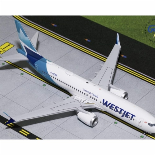 Gemini200 G2WJA783 WestJet Boeing 737Max8 Scale 1 by 200 New Livery Reg No. C-GZSG Perspective: front