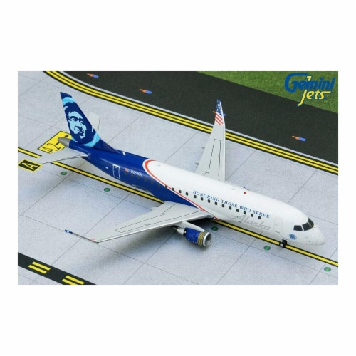 Gemini200 G2ASA886 1 by 200 Scale Alaska Embraer ERJ-175 N651QX Honoring Those Who Serve Die- Perspective: front