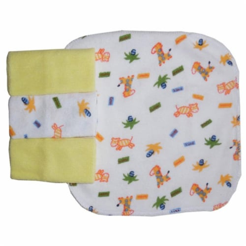Bambini 023 Terry Wash Cloth, Yellow with Assorted Prints - Pack of 4 Perspective: front