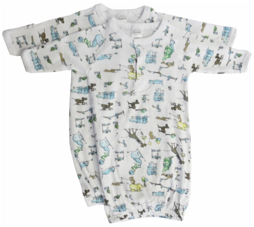 Bambini Boys Print Infant Gowns - 2 Pack - Newborn Perspective: front