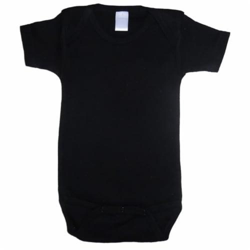 Black Interlock Short Sleeve Onezies Perspective: front