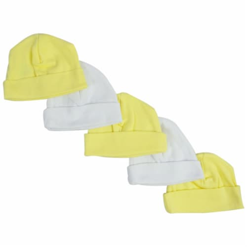 Bambini Yellow & White Baby Caps (Pack of 5) Perspective: front