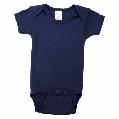 Navy Interlock Short Sleeve Bodysuit Onezie Perspective: front
