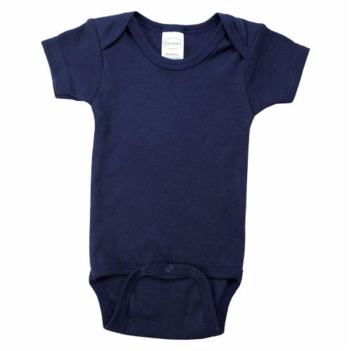 Navy Interlock Short Sleeve Bodysuit Onezie Perspective: front