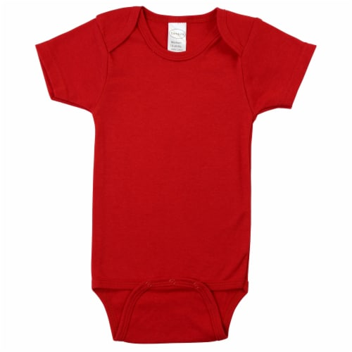 Red Interlock Short Sleeve Bodysuit Onezie Perspective: front