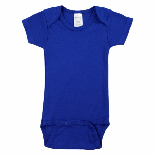 Blue Interlock Short Sleeve Bodysuit Onezie Perspective: front