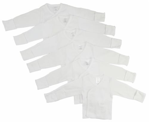 Bambini Long Sleeve Side Snap With Mittens 6 Pack - Newborn Perspective: front