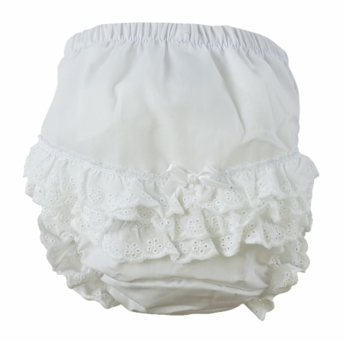 """White Girl's Cotton/Poly """"Fancy Pants"""" Underwear - Newborn Perspective: front"""