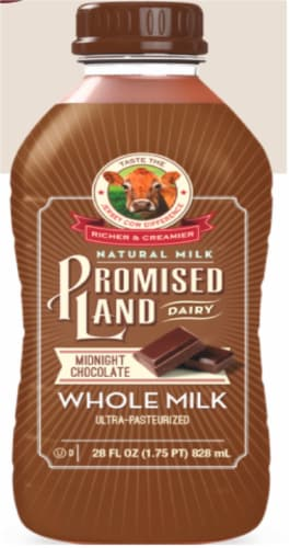 Promised Land Dairy Midnight Chocolate Ultra-Pasteurized Whole Milk Perspective: front