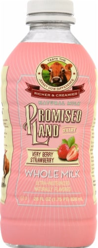 Promised Land Dairy Very Berry Strawberry Whole Milk Perspective: front