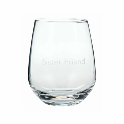 Hallmark 6519821 Sister Friend Drinking Glass, Assorted - Pack of 2 Perspective: front