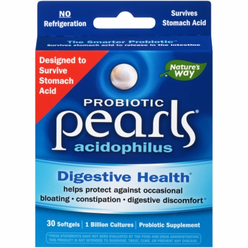 Nature's Way Probiotic Pearls Acidophilus Digestive Health Softgels Perspective: front