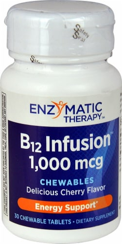 Enzymatic Therapy B12 Infusion Cherry Chewable Tablets 1000mcg Perspective: front