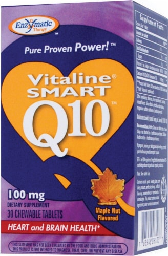 Enzymatic Therapy Smart Q10™ CoQ10 Maple Nut Flavored Chewable Tablets 100 mg Perspective: front