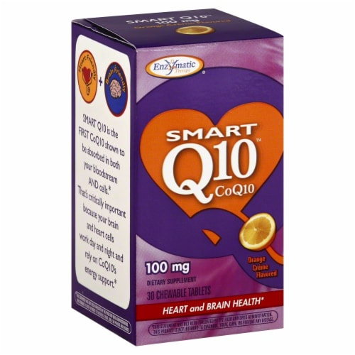 Enzymatic Smart Q10 CoQ10 100 mg Orange Flavored Dietary Supplement Perspective: front