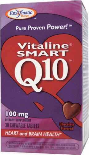 Enzymatic Therapy Smart Q10™ CoQ10 Chocolate Flavored Chewable Tablets 100 mg Perspective: front