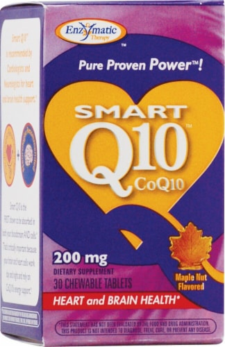 Enzymatic Therapy Maple Nut Smart Q10 CoQ10 Chewable Tablets Perspective: front