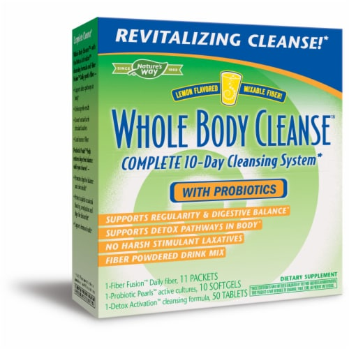 Enzymatic Therapy Lemon Flavor Whole Body Cleanse with Probiotics Perspective: front