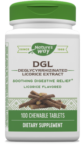 Nature's Way DGL Deglycyrrhinizated Licorice Extract Chewable Tablets Perspective: front